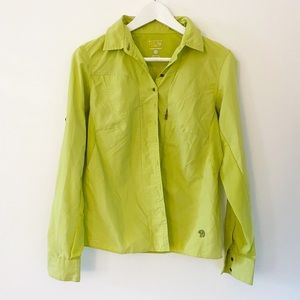 Mountain hardware lime green hiking button up top